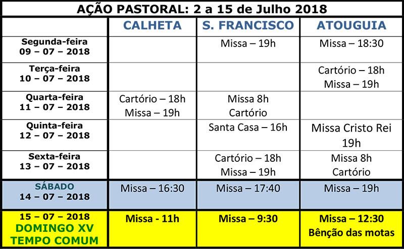 Vida paroquial de 2 a 15 de Julho 2018