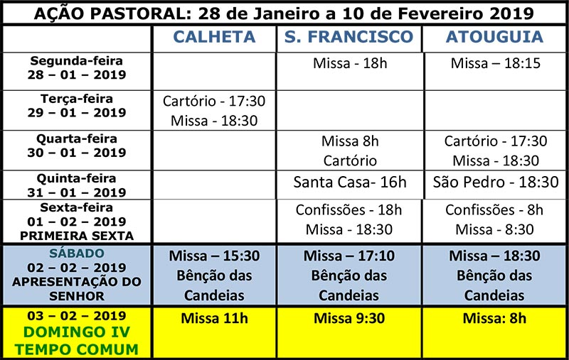 Vida paroquial 28 de Janeiro a 10 de Fevereiro 2019