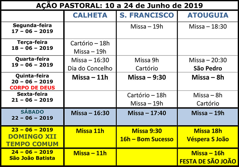 Vida paroquial de 10 a 24 de Junho de 2019