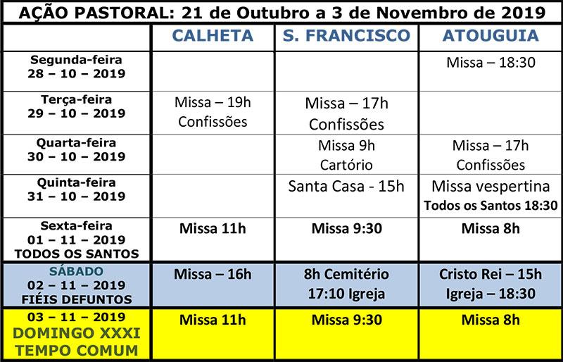 Vida paroquial de 21 de outubro a 3 de novembro