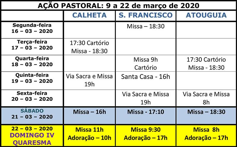 Vida paroquial de 9 a 22 de março